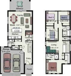 These are some of the small house design floor plans with Three and Four Bedrooms and Two baths (Duplex small house design floor plans with 3 and 4 Bedrooms). All houses are small and some of them available for construction in narrow areas. These houses a Two Storey House Plans, Narrow Lot House Plans, Dream House Plans, Narrow House Designs, Small House Design, Town House Floor Plan, Floor Plans 2 Story, House Plans Australia, Bedroom House Plans