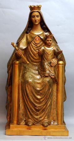 Talla Virgen de la Merced Emilio Laíz Campos Madrid 1961 madera policromada y dorada