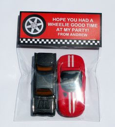 Racing Car Party Favor bag Toppers
