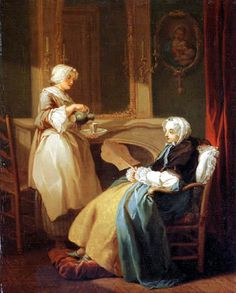 Two Women mid 18th century by Etienne Jeaurat (1699-1789)