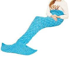 """""""Mermaid Tail"""" with Scales Knitted Blanket (12 Colors)"""