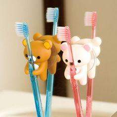 Add a cute and whimsical touch to your bathroom's decor with one of these Rilakkuma toothbrush holders! This playful toothbrush holder comes with a suction up on the back to be easily applied to any smooth surface. Rilakkuma, Kawaii Shop, Kawaii Cute, Kawaii Bedroom, Gadgets, Cute Room Decor, Plushies, Cool Things To Buy, Whimsical
