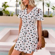 Color: White Season: Summer Material: Polyester Pattern Type: DOT The post Sexy Polka Dot Printed V-Neck flared sleeve A-line short dress appeared first on TD Mercado. Fashion Wear, Look Fashion, Fashion Dresses, Dress For Short Women, Short Sleeve Dresses, Polka Dot Print, Polka Dots, Summer Outfits, Summer Dresses