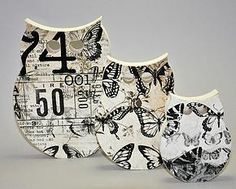 Handcrafted Wood Three Piece Owl Set  Handmade in New Zealand by Miss Molly