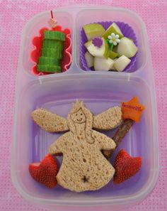 Fairy sandwich with apricot pretzel wand packed in @EasyLunchboxes
