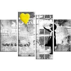 Banksy Canvas Yellow Balloon on Grey 4 Panel 100 cm wide
