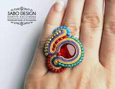 Multicolor statement soutache ring embroidery handmade in red, gold, violet and green, summer fashion jewelry, TOHO beads, ooak.