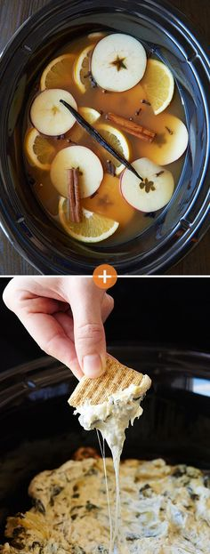 The easy way to throw a party? Choose a drink and a dip that can be made in slow cookers (spinach artichoke dip + spiced apple cider)