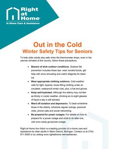 Learn more about #wintersafetytips for seniors in this #AnnArbor #SeniorCare Tip by Right at Home Ann Arbor. For more articles and information about #seniorhealth and #homecare, visit www.rightathome.net/washtenaw/blog/. #homehealthcare #agingtips #aging #seniorsafety #caregiving #caregivingtips