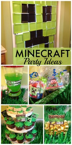 Minecraft is such a popular theme for a boy birthday right now! Love the paper plate Creeper wall. See more party ideas at CatchMyParty.com!