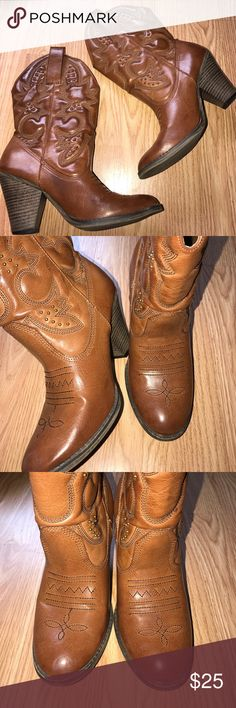 COWBOY BOOTS Minor wear on these, size 7.5  cognac in color, cute cowboy detail. MIA Shoes Ankle Boots & Booties