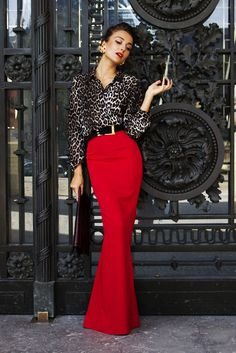 I have a thing for red with leopard...you notice. Great combination plus...it's a skirt!