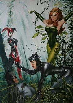 Batman Catwoman harley quinn and poison ivy