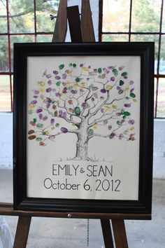 Fingerprint guest book tree. Drawn by my sister. ;)