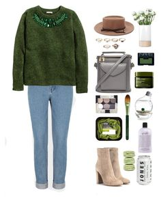 """Green Beauty"" by itsmytimetoshinecoco ❤ liked on Polyvore featuring Gianvito Rossi, H&M, Forever 21, LSA International, NARS Cosmetics, Origins, Ladurée and philosophy"