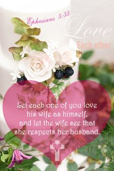 This is a profound mystery--but I am talking about Christ and the church. However, each one of you also must love his wife as he loves himself, and the wife must respect her husband. Ephesians 5:32-33
