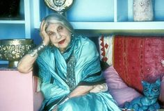 "Beatrice Wood, age 105. When ask the secret of her longevity, she would simply say ""art books, chocolates & young men""."