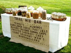 Wedding Food trail mix bar at your wedding.i think this would be good for the guys and kids (if any come). :) - Cari @ Socially Circled M's Birthday / Summer Camp - Photo Gallery at Catch My Party Diy Wedding Food, Wedding Snacks, Camp Wedding, Wedding Reception, Rustic Wedding, Wedding Ideas, Camping Wedding Theme, Reception Food, Wedding Favours Vegan
