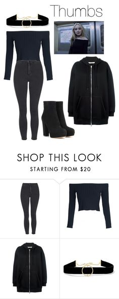 """GET THE LOOK : Sabrina Carpenter Thumbs"" by jesysminn on Polyvore featuring Topshop, WithChic, Givenchy, Anissa Kermiche, Gianvito Rossi, GetTheLook, outfit and black"