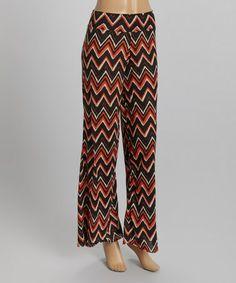 Love this Black & Orange Zigzag Stripe Palazzo Pants on #zulily! #zulilyfinds