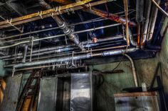 Some of the boiler room piping in the abandoned Linda Vista Hospital located in Los Angeles, California.  Photos by David Seibold