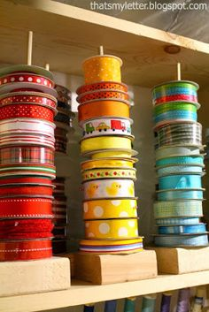 "That's My Letter: ""R"" is for Ribbon Organizer, easy diy ribbon holders (Diy Storage Craft) Ribbon Organization, Ribbon Storage, Sewing Room Organization, Craft Room Storage, Diy Ribbon, Organization Ideas, Diy Storage, Storage Ideas, Craft Rooms"