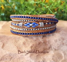 Blue 5-Wrap Bracelet-Beaded Leather Bracelet-Skinny Wrap-Boho