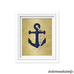 Anchor Print Nautical Printable Art Print by ScubamouseStudiosJr, $5.00