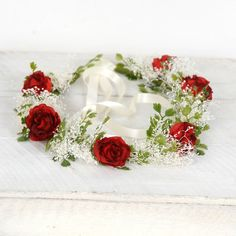 Flower Crown, holiday headpiece christmas headband red roses babys... ($56) ❤ liked on Polyvore featuring accessories, hair accessories, flower crown headband, floral crowns, floral crown headband, floral garland and red headband