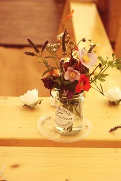 Jar Flowers Vintage Country Garden Festival Wedding http://www.kimberleysta-mariaphotography.com/