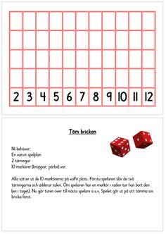 Töm brickan - ett enkelt additionsspel med 5 spelbrickor i A5-format