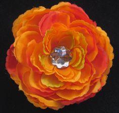 #Handmade Orange Flower and Jewel Hair Clip by ninjavspirategifts on Etsy, $8.00
