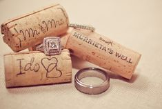 wine corks and wedding rings