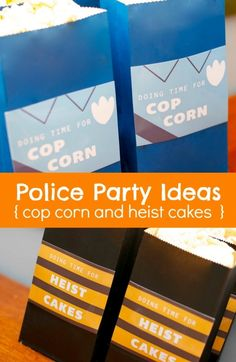 Police Birthday Party Food Ideas - Cop Corn and Heist Cakes www.spaceshipsandlaserbeams.com