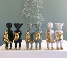 """Special design by Dutch designer Manoushka Kraal, working from her studio in South Africa. She was inspired by the Clonette dolls. These are plastic dolls, first produced in Ghana during colonial times inspired by traditional African dolls cut from wood. They are known as little """"angels"""" who care for your baby ... As a little friend they lead you through life! The Clonette doll was the first mass production doll in Africa and is still very popular nowadays."""