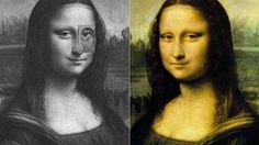 """- * Mona Lisa's Eye * - The image on the right is actual. The mirrored image has a manga card from the 1990's """"Baki the Grappler"""" over her left eye. The character is 'Retsu Kaioh' or Mona Lisa's Eye. Stand about 10 feet from your monitor; the card should disappear -"""