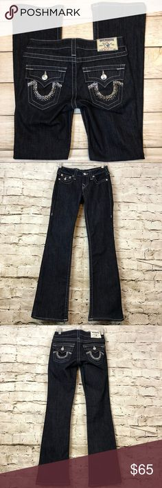 TRUE RELIGION Dark Blue Studded Boot Cut Sz 25 TRUE RELIGION Dark Blue Studded Boot Cut Sz 25  Truly Gorgeous Bling on the pockets.  These jeans are like new only worn once.  Inseam is 31.5 inches  Rise is 6.5 inches  Pre-loved in excellent condition  Thank you for visiting my closet please check out my other items. True Religion Jeans Boot Cut
