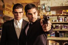 """The Gecko brothers - Zane Holtz & D. Cotrona - """"From Dusk Till Dawn: The Series."""" love this show! Such a great take on the movie! From Dusk Till Down, Dusk Till Dawn, El Rey Network, Richie Gecko, Dj Cotrona, Zane Holtz, Dawn Movie, Series Premiere, Tv Shows"""