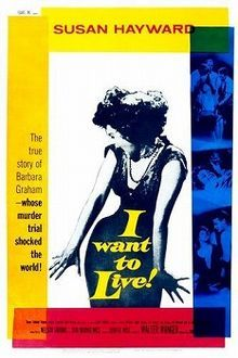 I Want to Live! is a 1958 film noir written by Nelson Gidding and Don Mankiewicz, produced by Walter Wanger, and directed by Robert Wise, which tells the heavily fictionalized story of a woman, Barbara Graham, convicted of murder and facing execution. It stars Susan Hayward as Graham, and also features Simon Oakland, Stafford Repp, and Theodore Bikel. The movie was adapted from letters written by Graham and newspaper articles written by Pulitzer Prize-winning journalist Ed Montgomery.