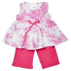 Layette Tutu Set, Haute Pink Toile 9-12m