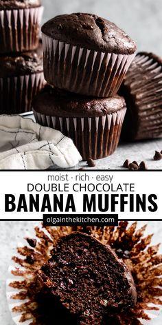Best Chocolate Desserts, Chocolate Chip Banana Bread, Banana Recipes Chocolate, Chocolate Flavors, Chocolate Chips, Chocolate Muffins Moist, Chocolate Banana Cupcakes, Moist Banana Muffins, Winter Desserts