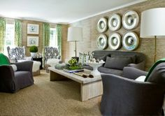 ---Decoration IDea---cozy and comfortable yet polished and chic. #textures #boldpatterns #elegant. Design by Melanie Turner