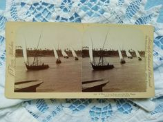 Antique stereo photo/stereoview A Fleet of Arab Boats upon the Nile Egypt Old Antiques, Photo Cards, Vintage Photos, Egypt, Boats, Vehicles, Ebay, Ships, Car