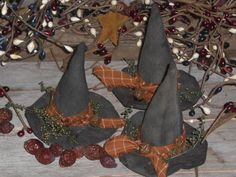 Set of 3 Primitive Grungy Halloween Olde Witch Hats Bowl Fillers Ornies Ornaments Shelf Sitters Tucks