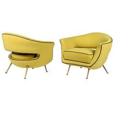 Pair Of Elegantly restored Italian '50s Armchairs