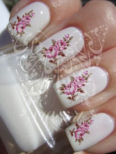 Nail Art Vintage Flower Water Decals Transfers wraps