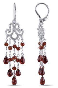 Eclipse 13.5 Ct Garnet & .1 Ct Diamond Earrings In Silver - Beyond the Rack