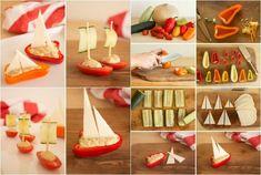 idées-repas-santé-amusant-anniversaire-enfant-voiliers-légumes