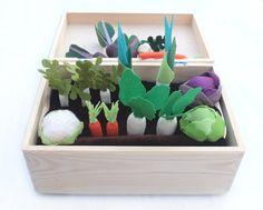 Pretend Food Felt Fabric Vegetable Set with Garden Box Pretend Veggies Big Set For Kids Little Gardener Little Housekeeper Montessori Toy