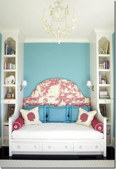 What a precious room for a teen - love the mix of the traditional Chinoiserie headboard with the teal wall. Screw that, I want this room for me!!
